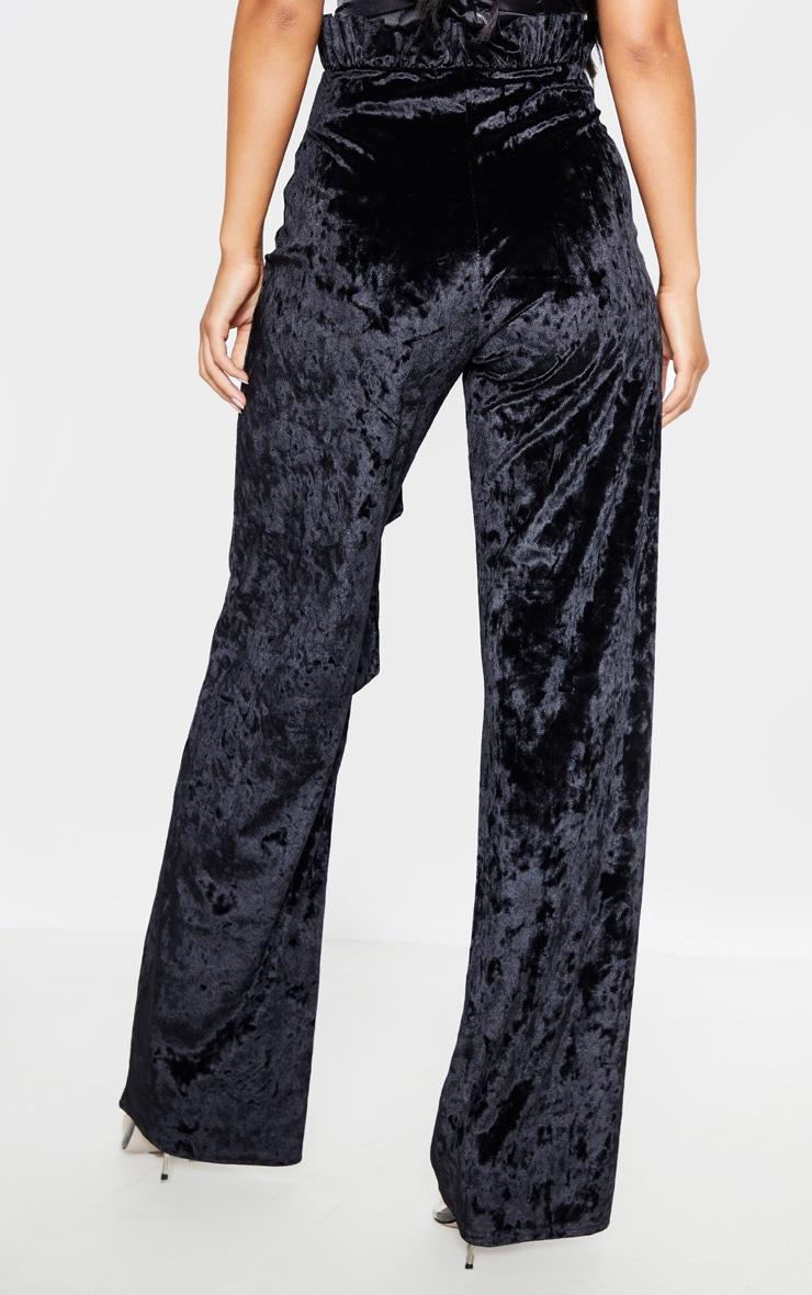 Black Velvet Paperbag Wide Leg Pants 4
