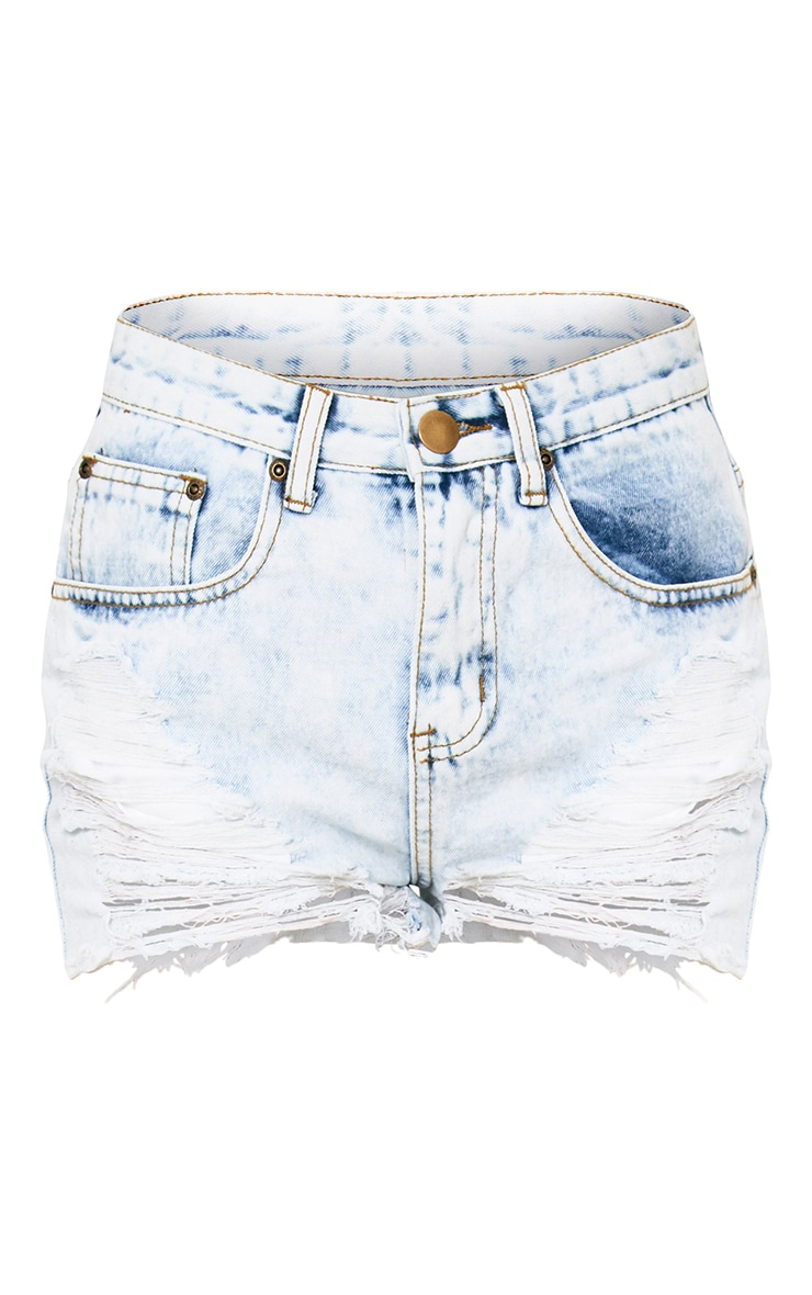 Bleach Wash Extreme Ripped Mom Short 3