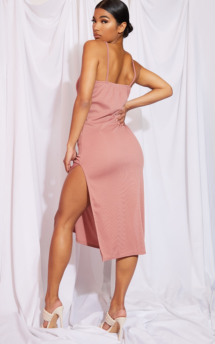 Rose Rib Split Cami Midi Dress 2