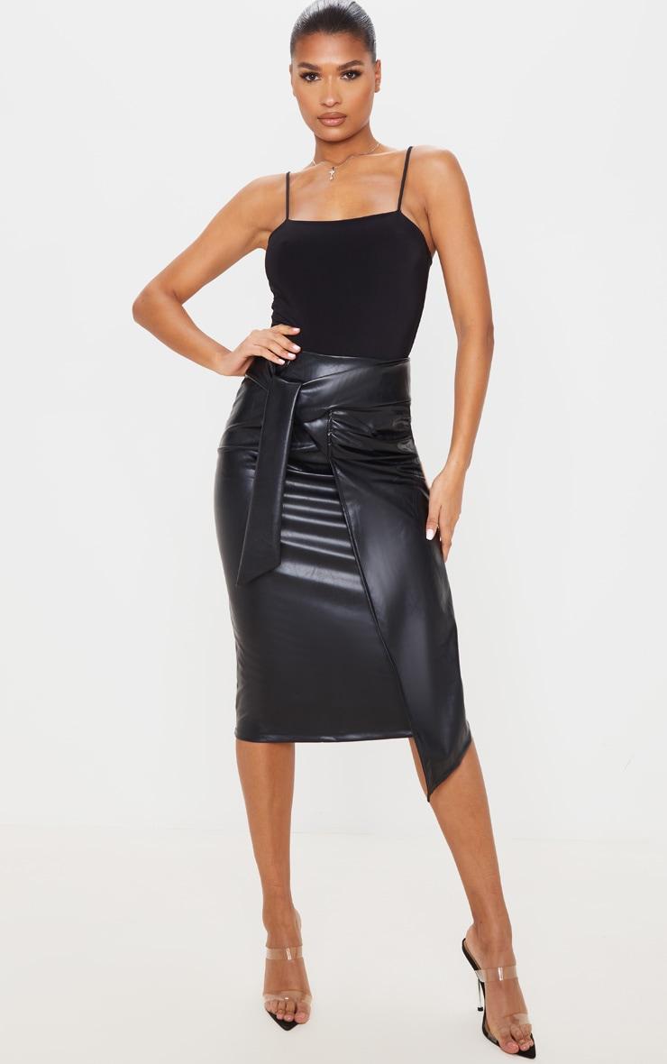 Black Faux Leather Drape Front Midi Skirt 1