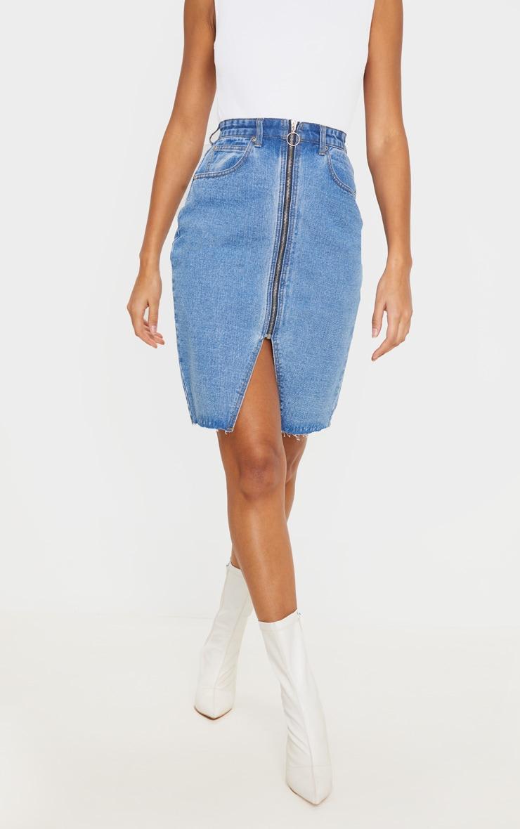 Jupe mi-longue en jean moyennement délavé à zip et fente 2