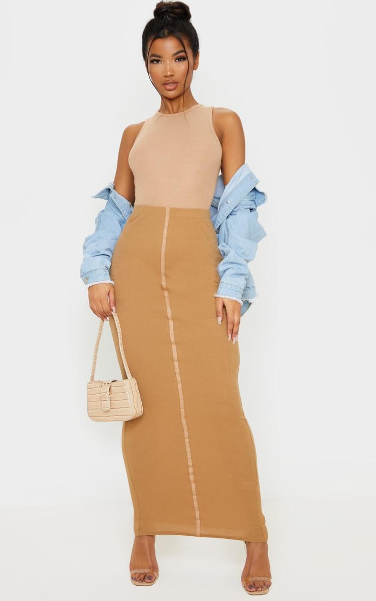 Camel Rib Seam Detail Maxi Skirt 1