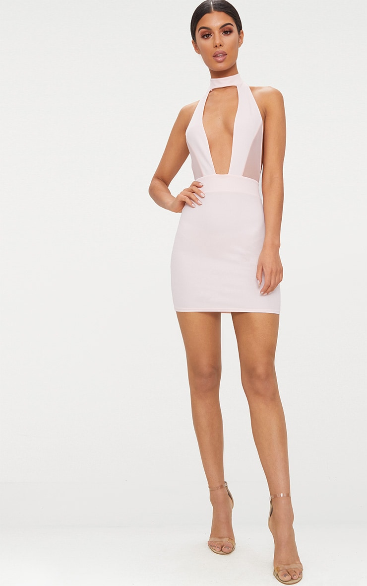 Stone Choker Mesh Detail Bodycon Dress 4