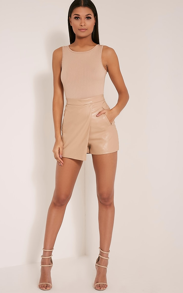 Chlo Taupe Faux Leather Skort 6