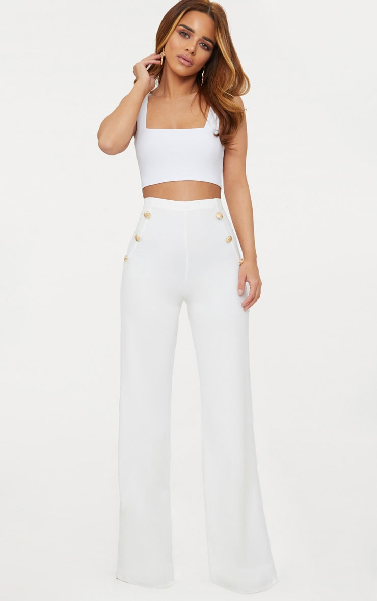 Petite White Military Button Wide Leg Pants 1