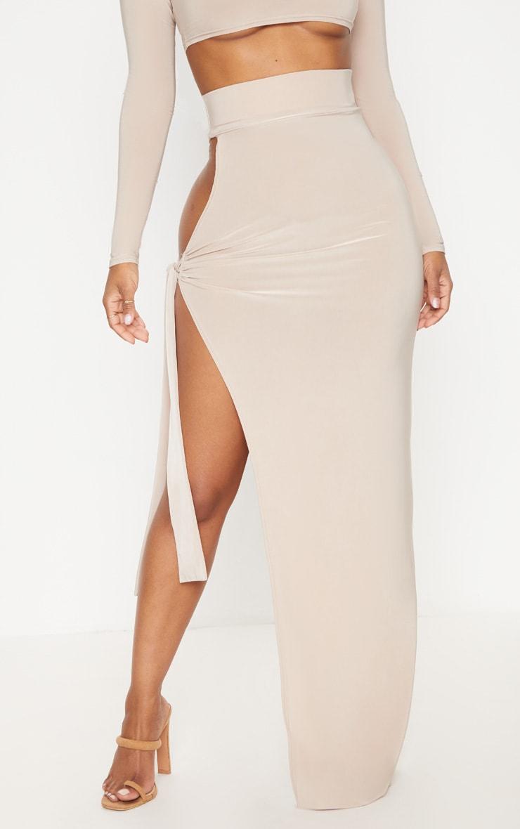 Shape Stone Slinky Tie Detail Maxi Skirt 2