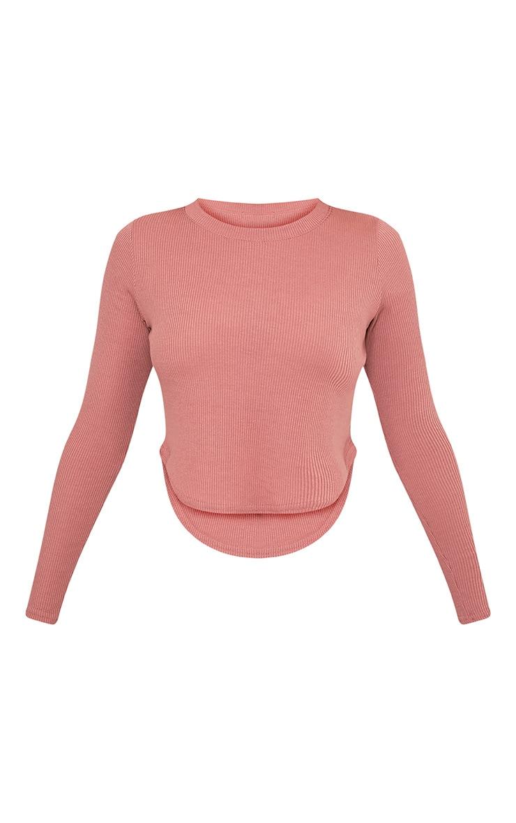 Rava top à ourlet arrondi côtelé en jersey rose 3