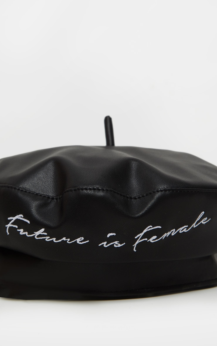 Black PU The Future is Female Slogan Beret 3