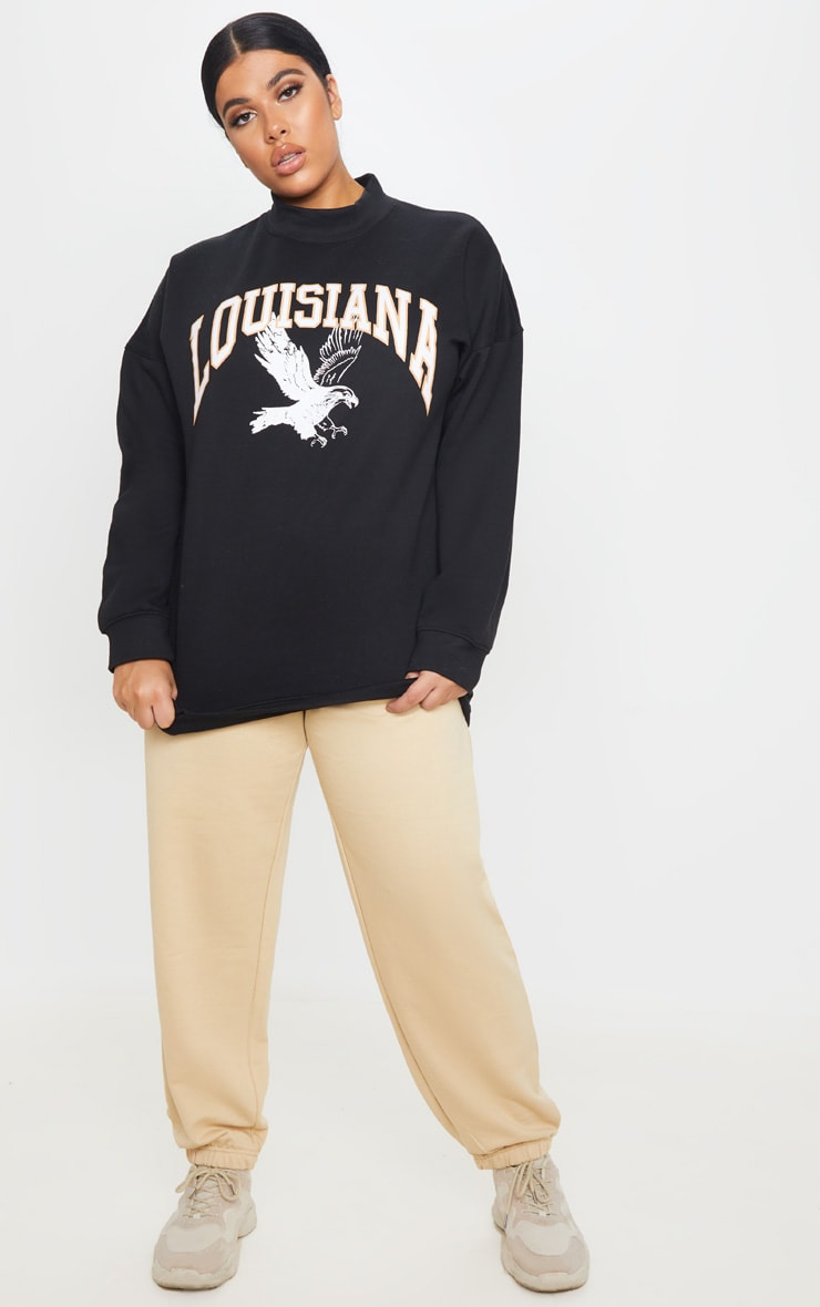Plus Black Louisiana Print Oversized High Neck Sweater 4