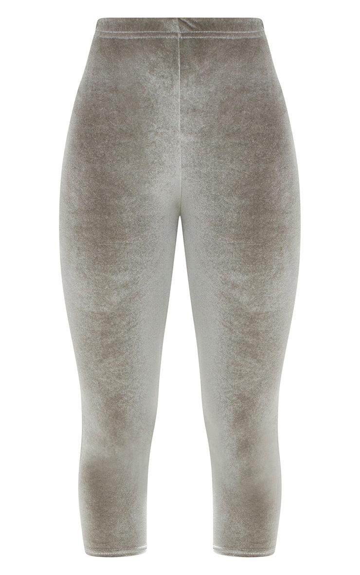 Grey Cropped Velvet Leggings 3