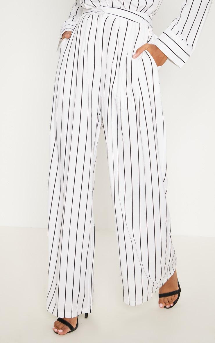 White Wide Leg Stripe Trouser 2
