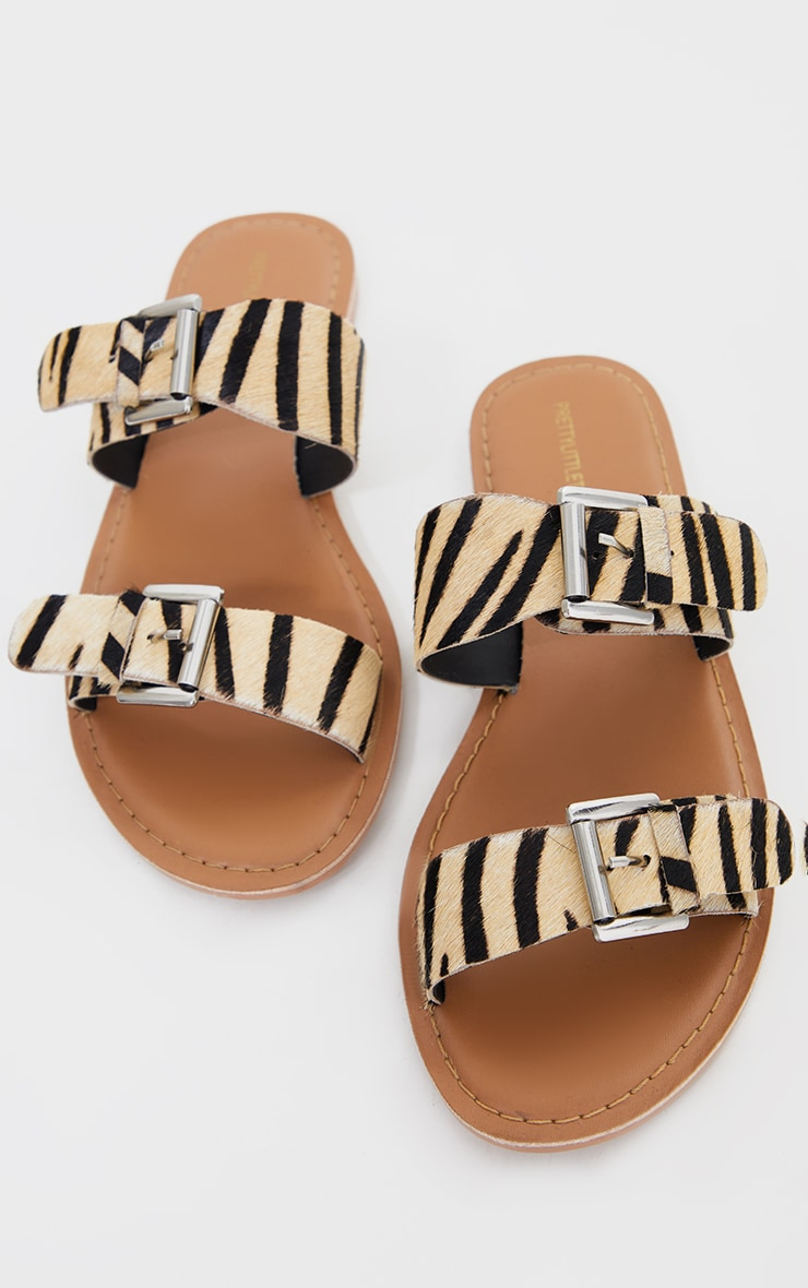 Zebra Wide Fit Real Leather Buckle Detail Double Strap Mule Sandals 4