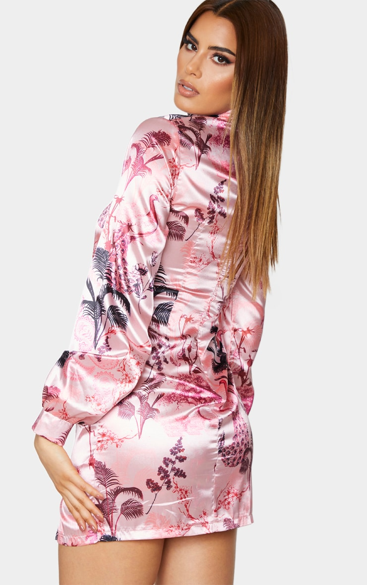 Tall Pink Oriental Print High Neck Split Satin Long Sleeve Dress 2