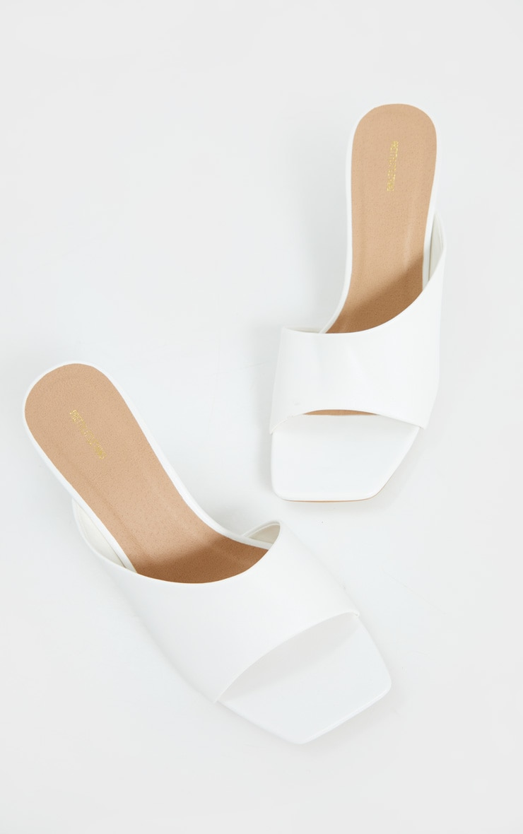 White Asymmetric Low Heel Mules 4