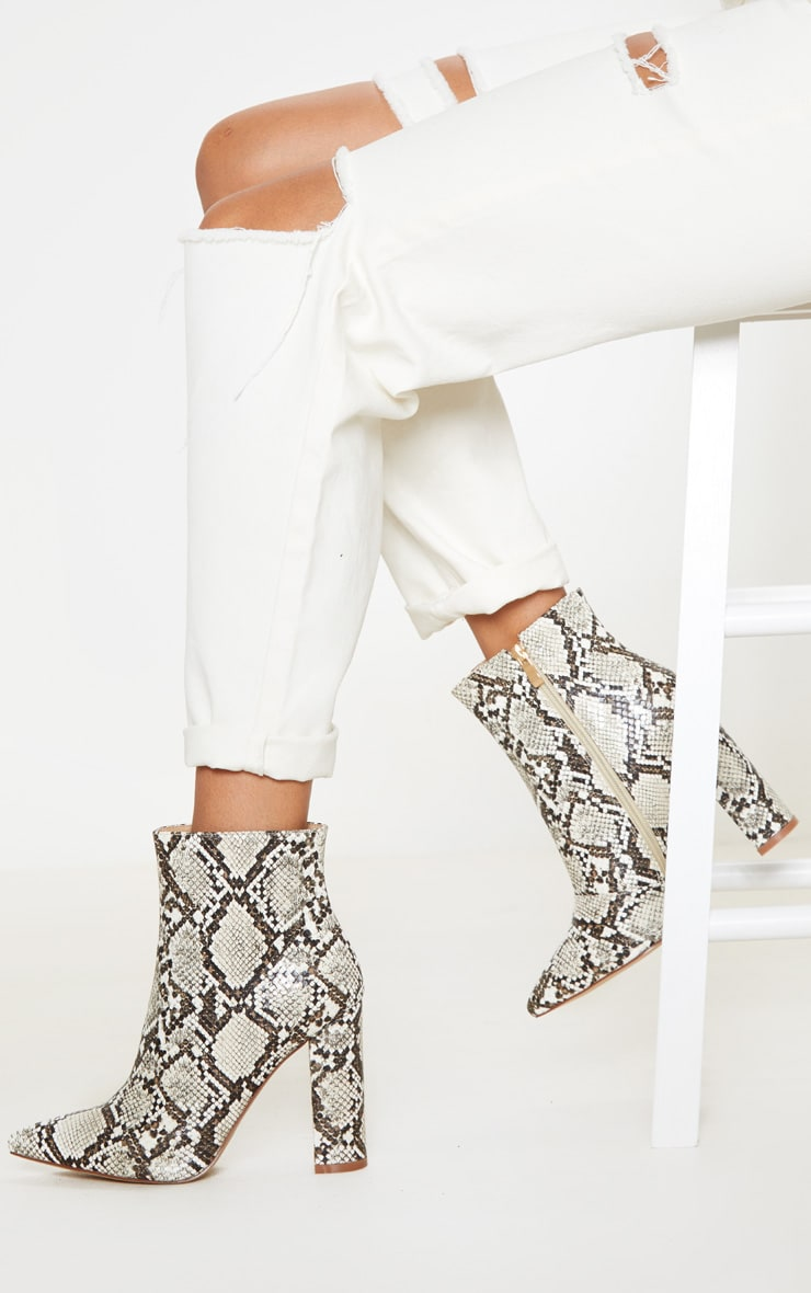 Snake High Block Heel Point Ankle Boot 1