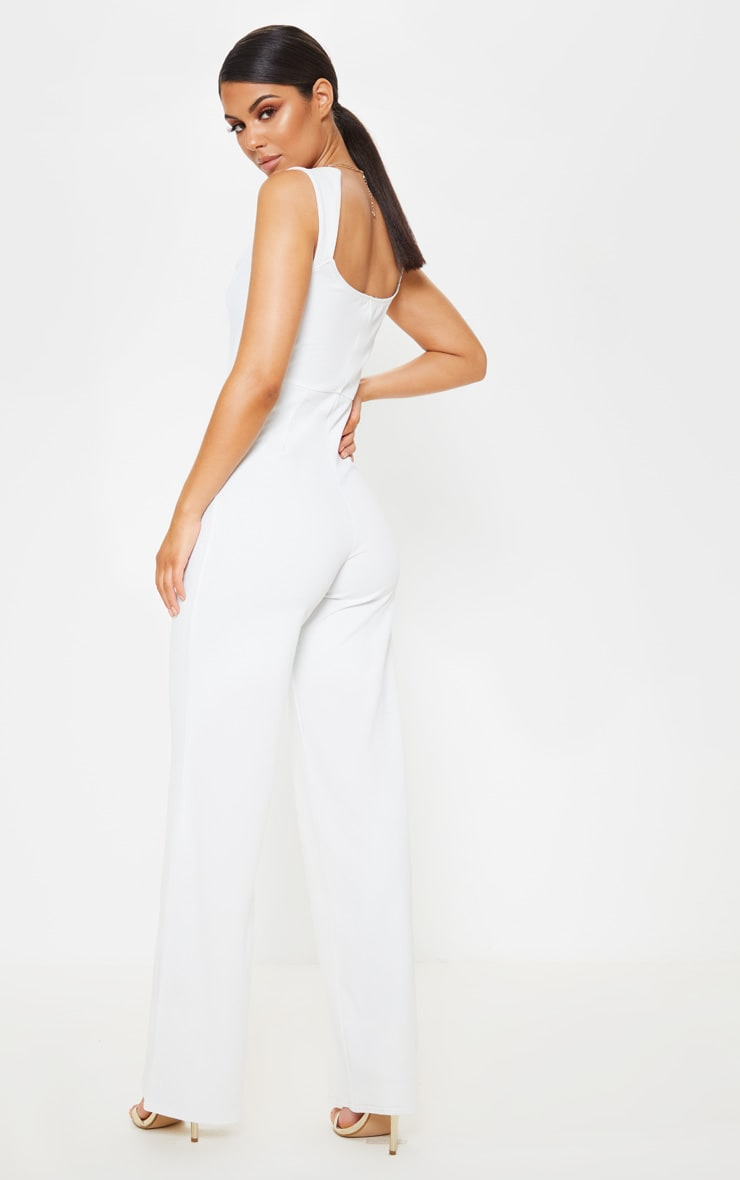 White Structured Bodice Wide Leg Jumpsuit 2
