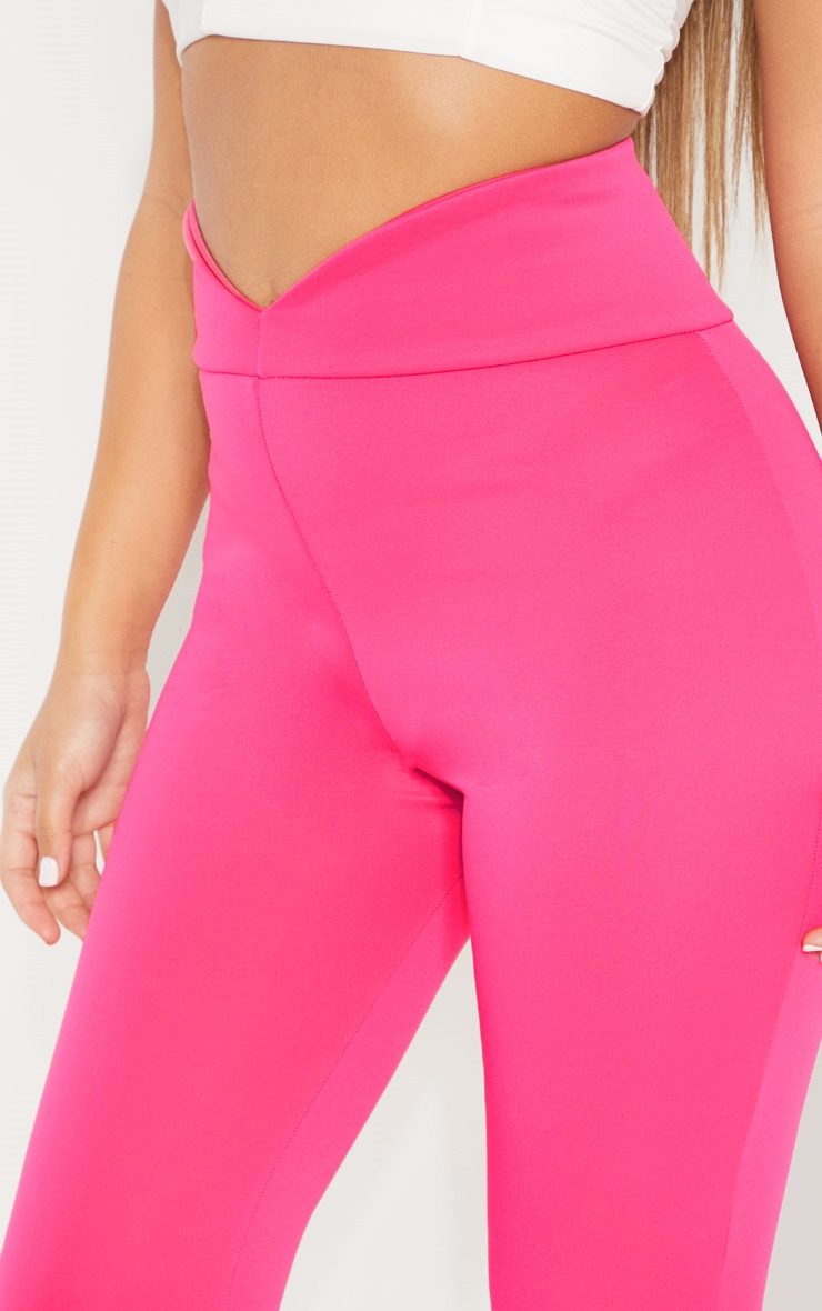 Pink Curve Waist Band Detail Flared Pants 5