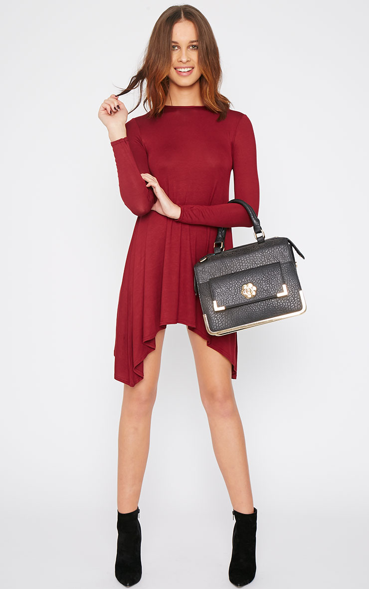 Basic Burgundy Swing Dress 5