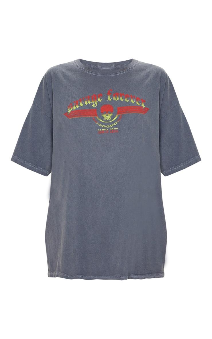 Grey Savage Forever Rock Slogan Washed T Shirt 3