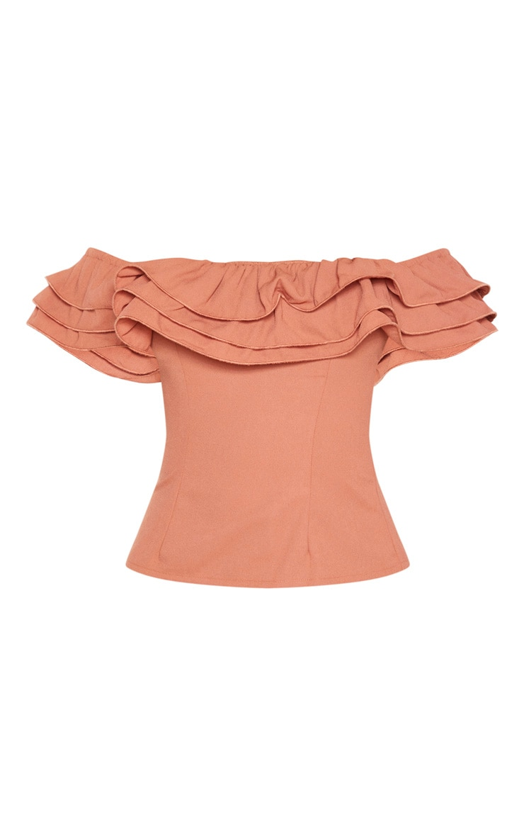 Terracotta Ruffle Edge Bardot Top 3