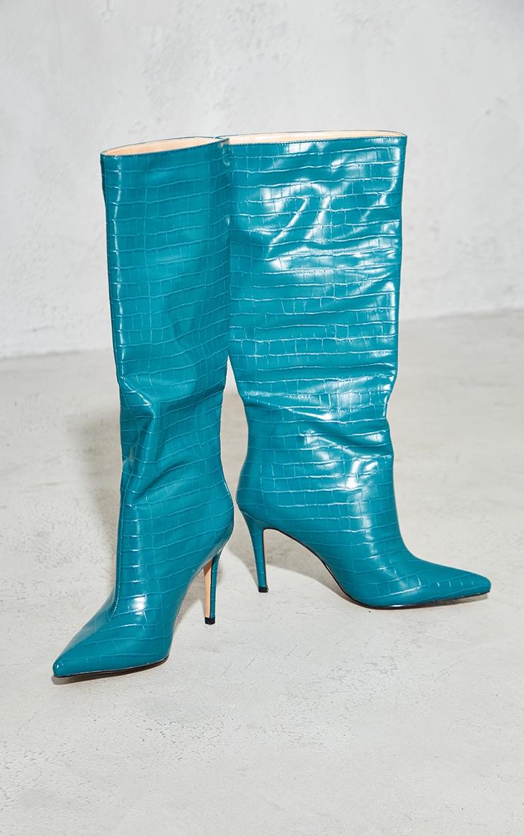 Teal Croc Calf Boots 3