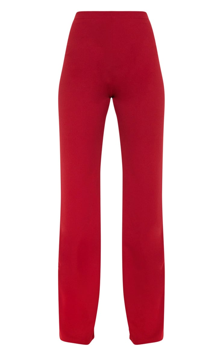 Scarlet Red Crepe High Waisted Wide Leg Pants 3