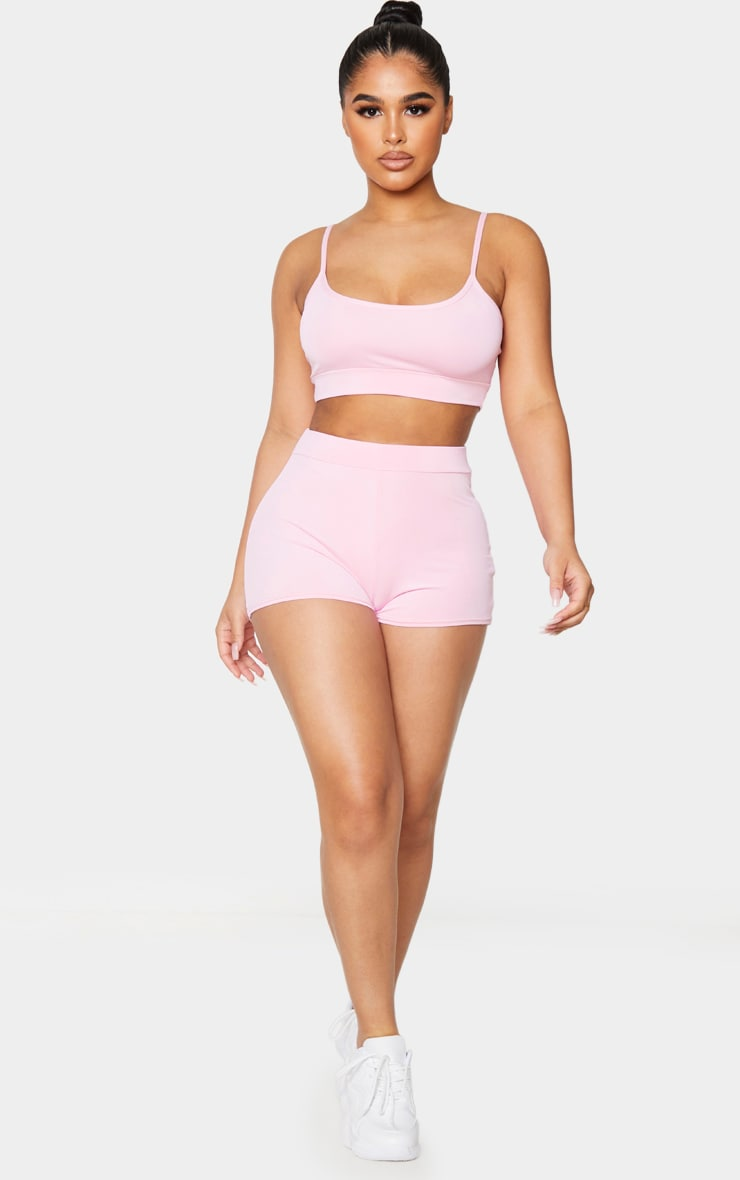 Petite Baby Pink Ruched Bum Booty Short 1