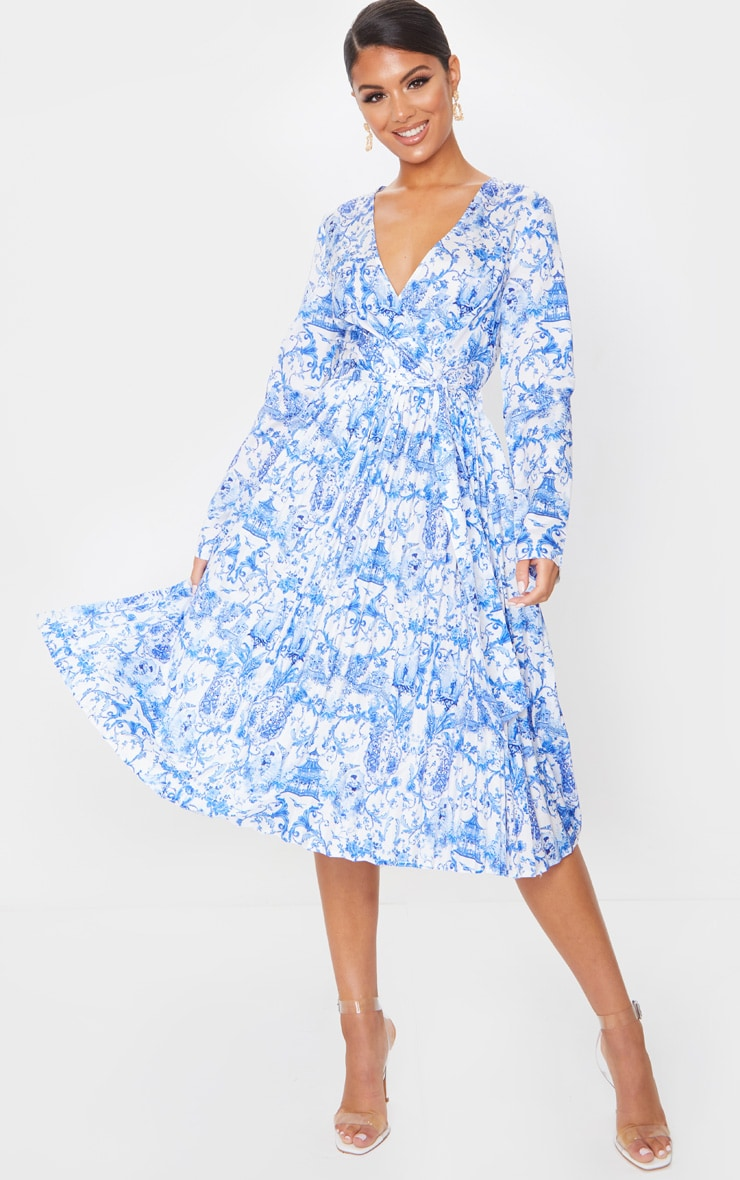 Blue Porcelain Print Long Sleeve Pleated Midi Dress 1