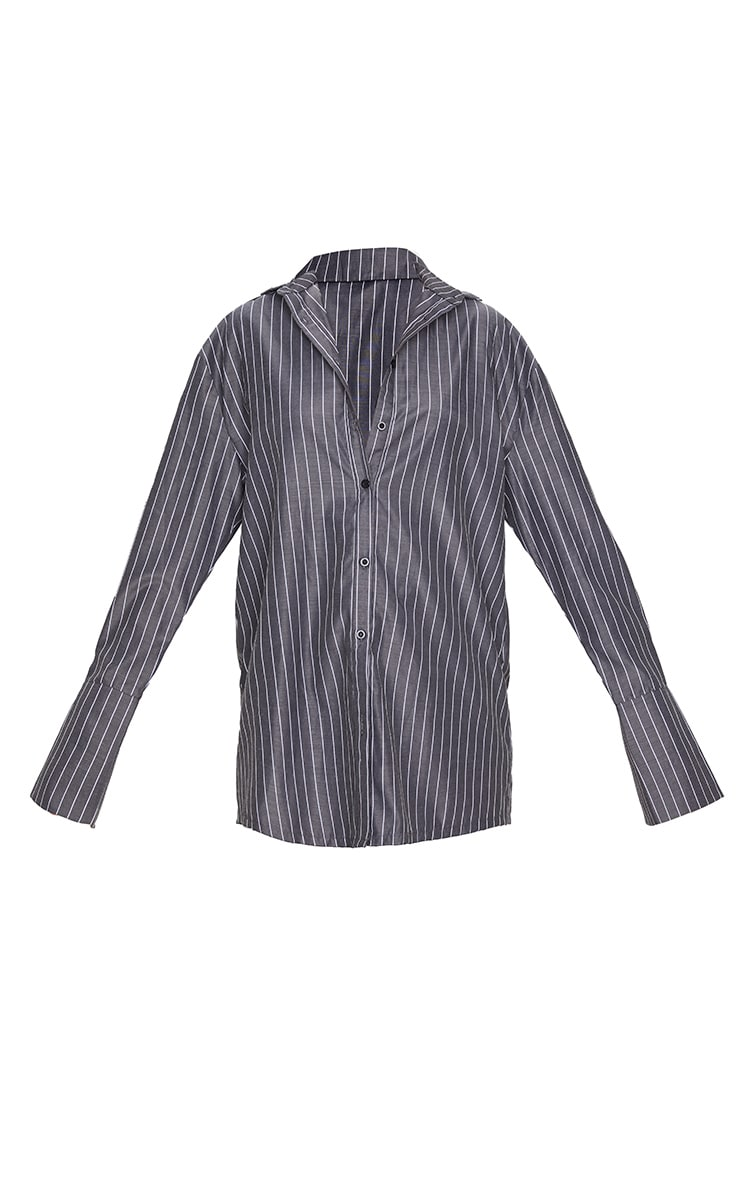 Black Pinstripe Oversized Dad Shirt 3
