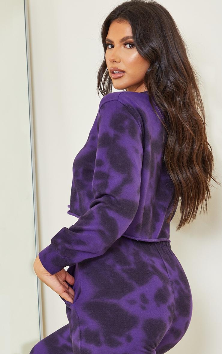 Tall Dark Purple Tie Dye Cropped Sweater 2