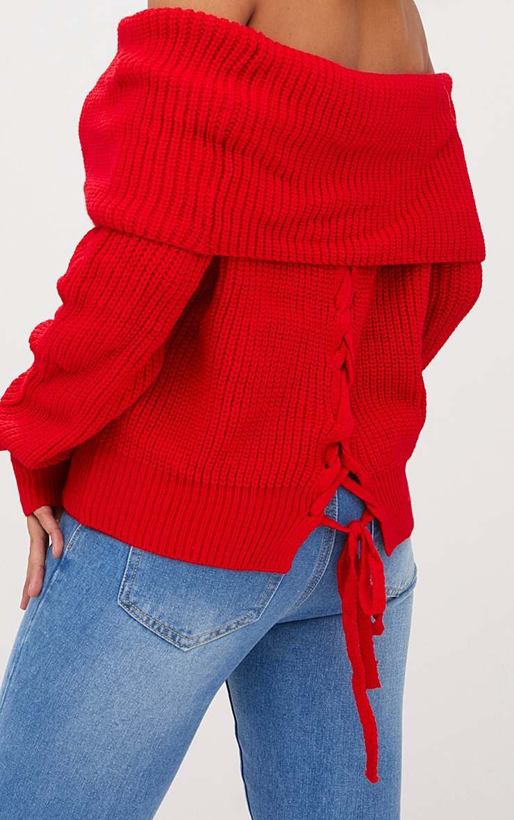 Red Bardot Tie Back Jumper 5