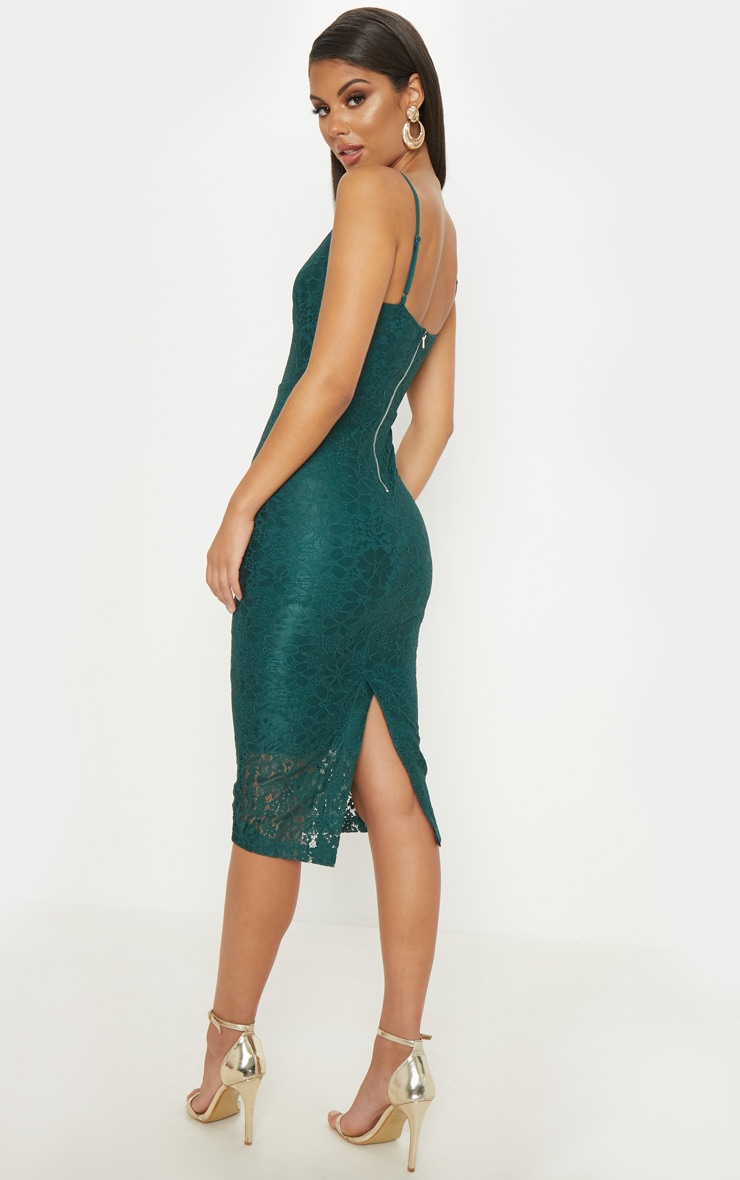 Emerald Green Lace Plunge Midi Dress  2