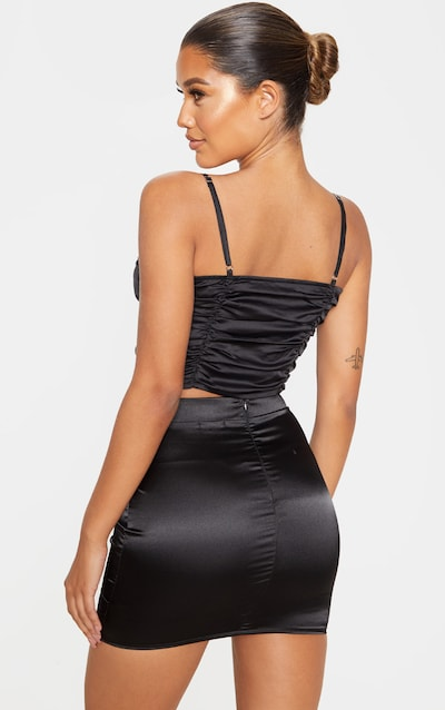 Black Satin Ruched Diamante Trim Crop Top