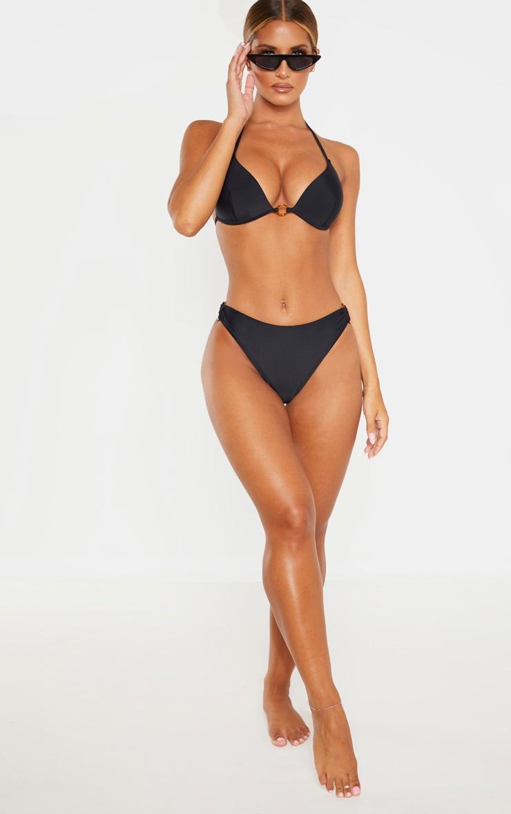 Bas de bikini noir à anneaux écaille de tortue 4