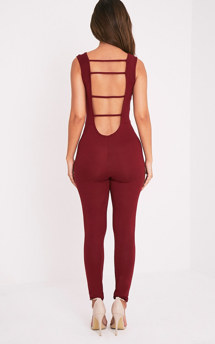 Elena Wine Strap Back Jumpsuit 2