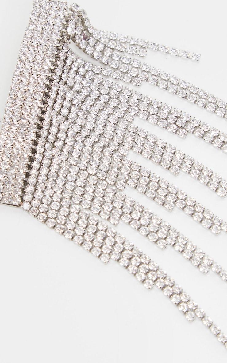 Silver Diamante Tassel Hair Clip 4