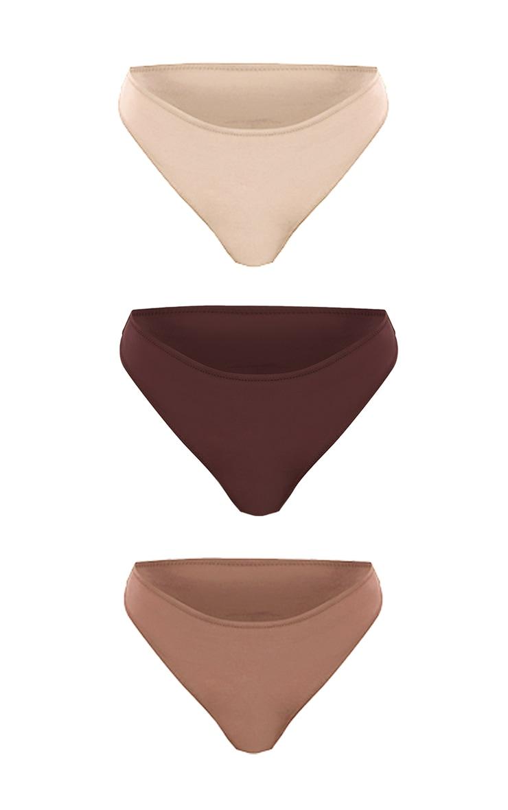 Brown Microfibre Lace Back Brazilian Knicker 3 Pack 5