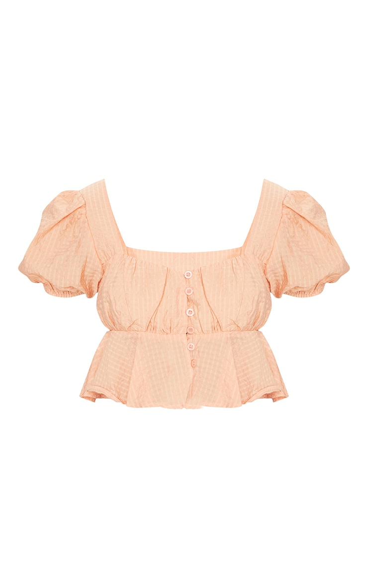 Pink Textured Button Front Puff Sleeve Crop Top 1
