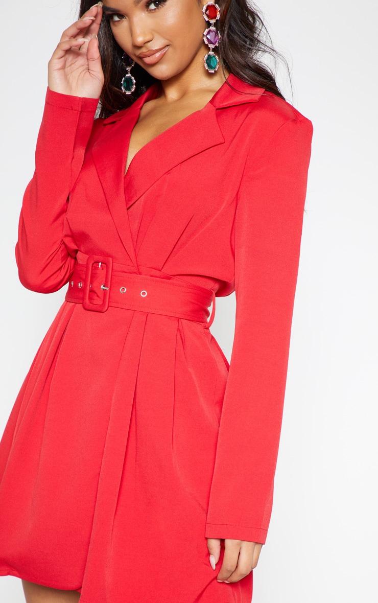 Red Belt Detail Blazer Dress 6