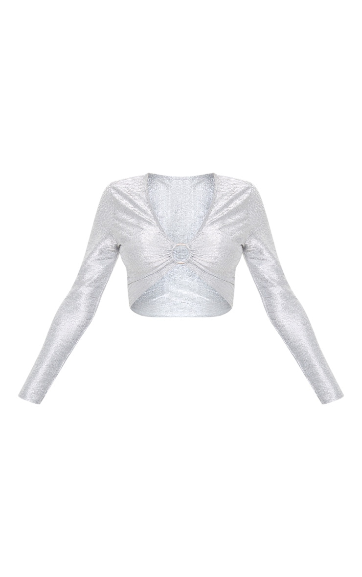 Silver Metallic Plunge O-Ring Crop Top 3