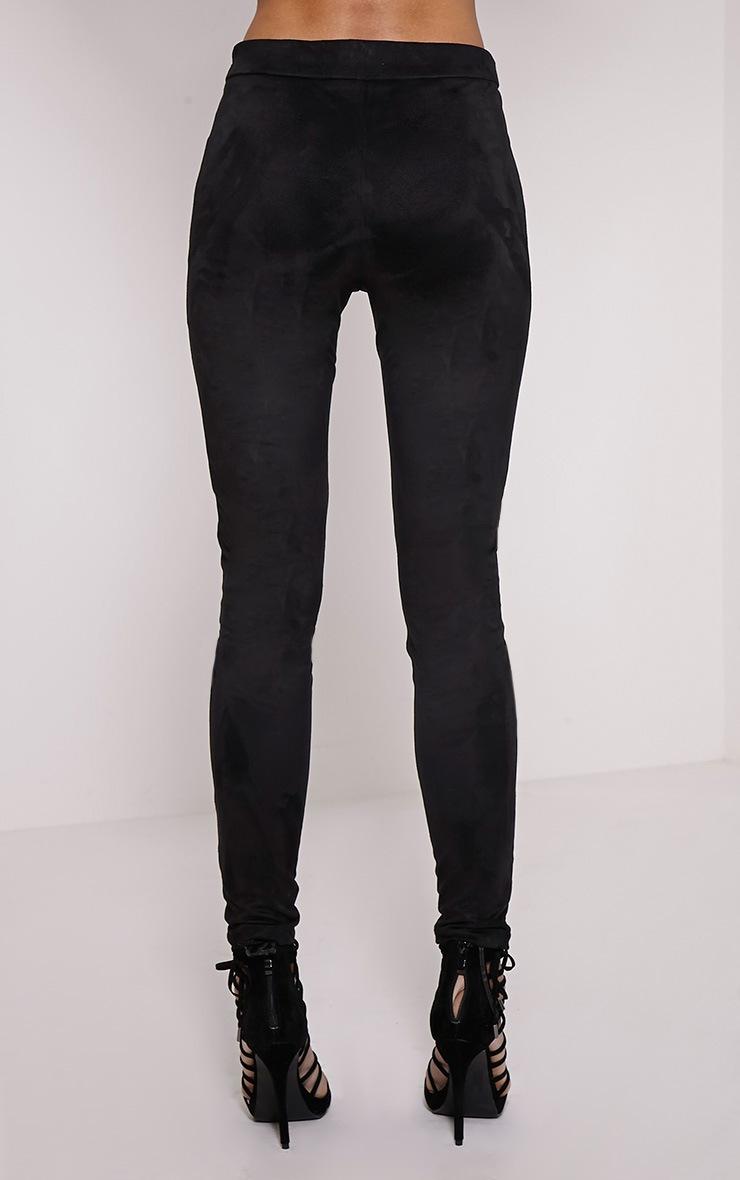 Shakira Black Faux Leather Lace Up Biker Pants 4