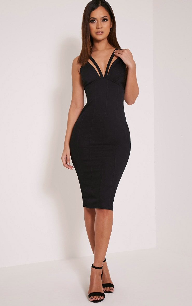 Kalle Black Bandage Detail Strappy Cup Midi Dress 1