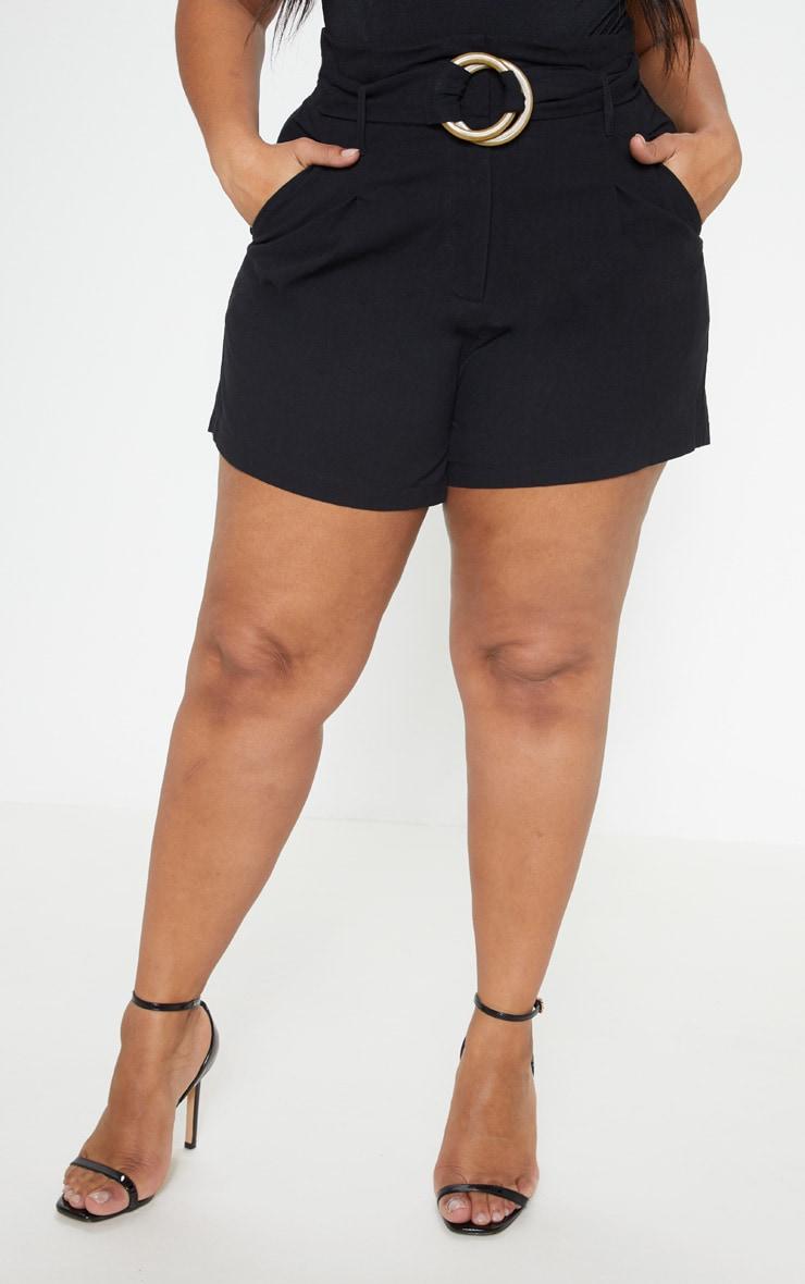 Plus Black Woven Belt Detail Shorts 2