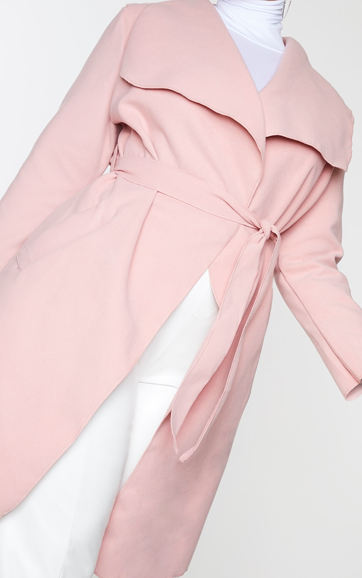 Plus Veronica Dusty Pink Oversized Waterfall Belt Coat 4