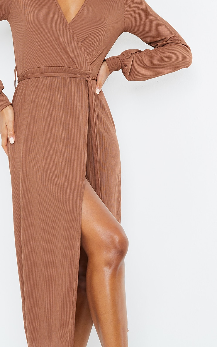 Chocolate Rib Tie Waist Long Sleeve Maxi Dress 4