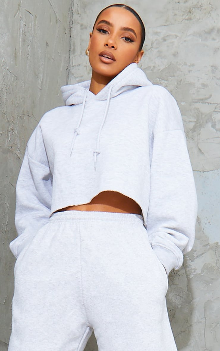 Grey Ultimate Oversized Crop Hoodie  1