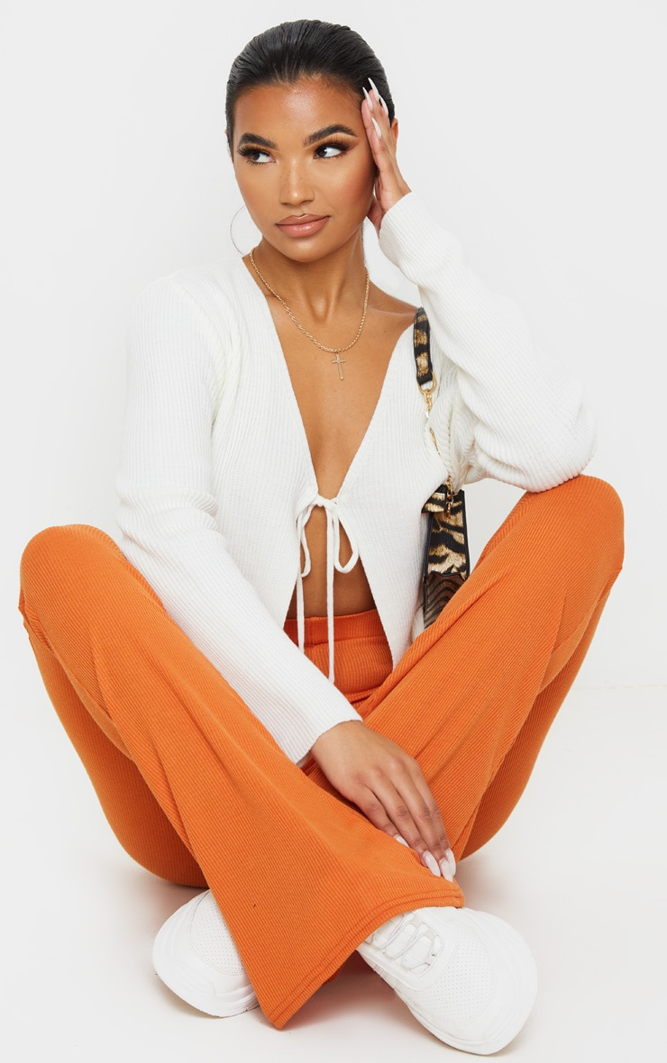 Burnt Orange Ribbed Flared Pants 1