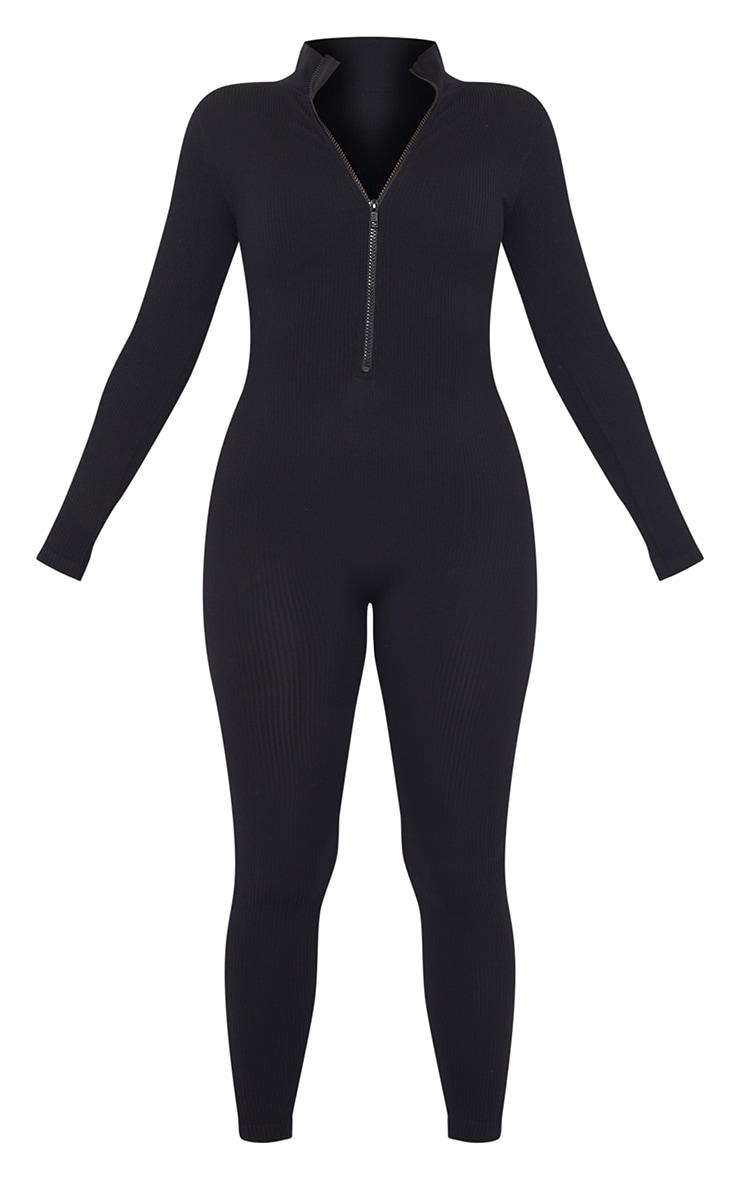 Petite Black Structured Ribbed Jumpsuit 5