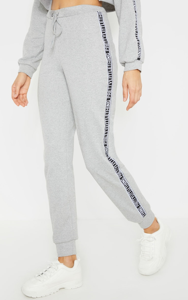 PRETTYLITTLETHING Tall Grey Marl Track Pants 2