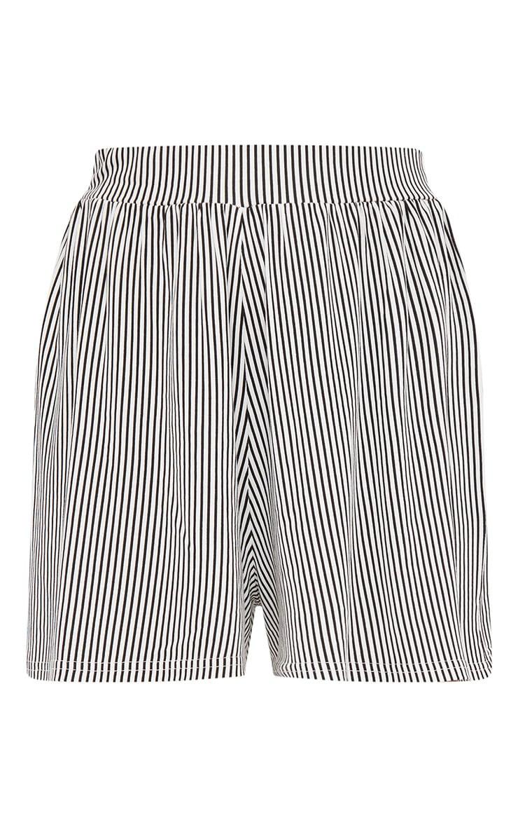 Black Stripe Jersey Floaty Shorts 3